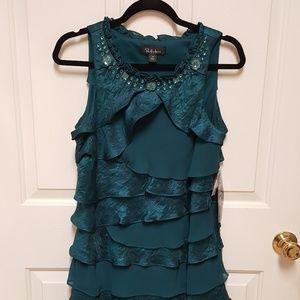 """NWT """"S.L. Fashions"""" beautiful green jeweled dress!"""